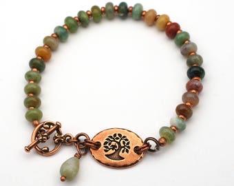 Dainty tree bracelet, multicolor semiprecious stone fancy agate beads, green lavender peach, copper, 8 inches