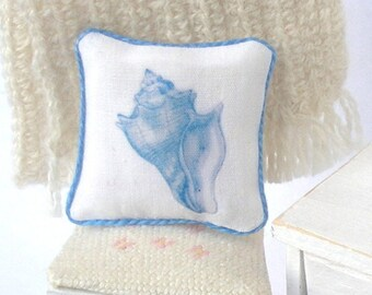 1:12 Pillow - Sea Shell - Handmade Scale Miniature Dollhouse - Shabby Beach **Free Shipping**