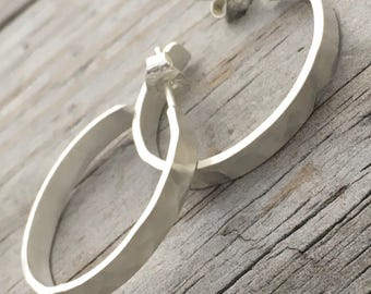 Sterling Silver Hammered Hoop Earring Handmade Sterling Silver Earrings By Wild Prairie Silver Jewelry