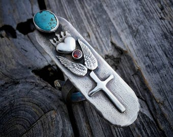 Sterling Silver Sacred Heart Ring Turquoise & Garnet Ring Handmade By Wild Prairie Silver Jewelry Artist Joy Kruse