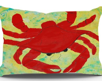 Red Crab Pillow Case from my original art