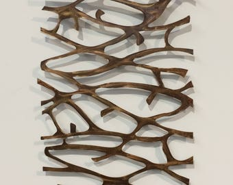 Metal Wall Art Sculpture  Abstract Wall Sculpture Metallic Home Decor Patina Steel 48 x 26