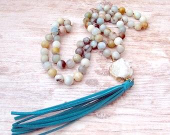Bohemian Mala Tassel Necklace - Womens Tassel Necklace - Boho Druzy Necklace - Druzy Tassel Necklace - Womens Druzy Necklace - Mala Necklace