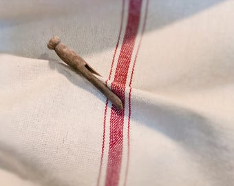 Reproduction Grain Sack Fabric Sold By The Yard. Thick Red Stripe on Cream.