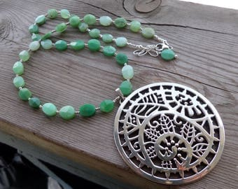 Fantastic Chrysoprase Gemstone and Sterling and Fine Silver with Large Silver Pendant Necklace