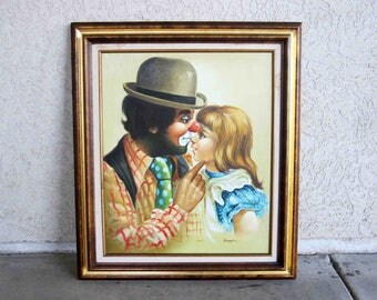 Vintage Clown Painting by Hoppin. Creepy Clown and Little Girl. Framed. Circa 1960's - 1970's.