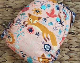 Playful Fox - One Size (11-35#) Bamboo/OBV Fitted Cloth Diaper (fox, forest, woodland, one of a kind, baby shower, girly, gift, PNPBaby