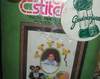Craft Kit - Photo Frame Baby Bear - Jiffy Stitches -   Unused 1970s