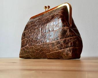 Classic leather clutch, brown leather clutch, Kiss Lock Clutch, Reptile clutch, Evening Clutch, Retro Style Clutch, frame clutch purse bag