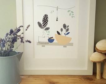 Plant floral Illustration Print, Kitchen wall Decor,House warming Gift, Art
