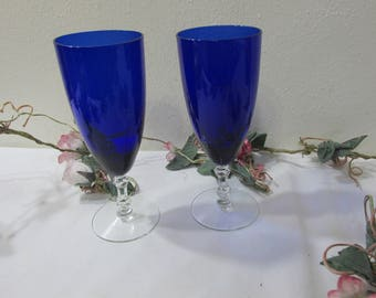 Cobalt and Crystal Stemware Goblets Set of 2