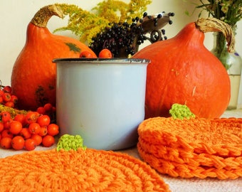Crochet Pumpkin Coasters - Pumpkin Farmhouse Decor - Thanksgiving Table Decor - Orange Pumpkin - Autumn Kitchen Decor - Rustic Table Decor