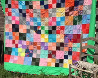 Vintage Quilt MOD Retro Double Knit Polyester Patchwork Bright Colors 73x82""