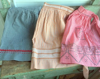 Vintage Lot 3 Half Aprons Gingham Check Smocked Embroidery