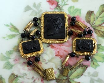 Art Deco Czech Signed 3 Black Glass Raised Cameo Bracelet Gold Gilt Beaded