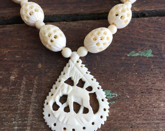Vintage Carved Ox Bone Elephant Pendant Piereced Beaded Boho Hippie