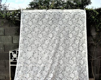"""1970s  Ivory Quaker Lace Style Curtain Long Panel 80"""" x 63"""""""