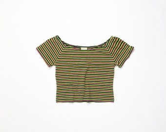 1990s Midriff Top 90s Striped Stretch Crop Bright Cropped Soft Grunge Baby Tee Belly Shirt Half Shirt Stretchy Aesthetic Neon Extra Small