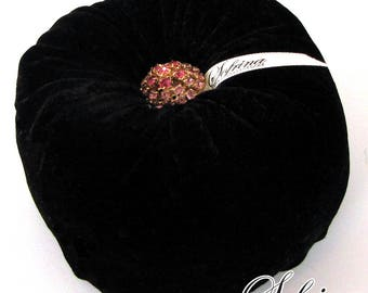 Elegant Gem Pincushion | Plush Black Velvet Exterior with Hand-Sewn Jewel & Button Accents | Made of Eco-Friendly, Upcycled Materials