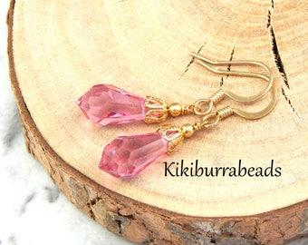 Pink Crystal Earrings,Swarovski Crystal Earrings, Gold Earrings