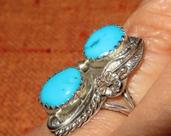 Double Blue Turquoise Ring Sterling Silver Size 8  Native American