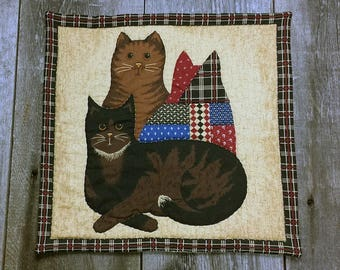 vintage fabric brown cat table mat, center piece, wall hanging you decide its use!