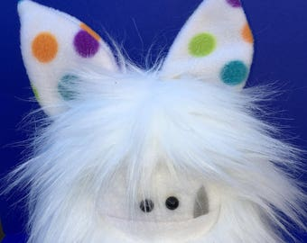 Cute Stuffed Monster - Collectible Handmade Plush Animal Toy - Softie Plush Monster Doll - OOAK Hand Stitched Soft Toy - White Fur Fuzzling