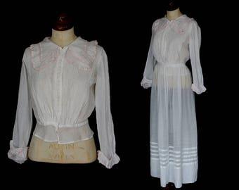 Original antique 1910s Edwardian white cotton blouse with skirt