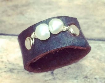 Pearl and Bison Leather Ring