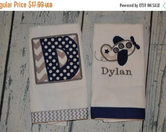 ON SALE Personalized Airplane Burp cloth Set of 2  Burpies  Monogrammed