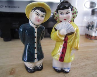 Anthropomorphic Asian/Oriental Couple Salt and Pepper Shakers