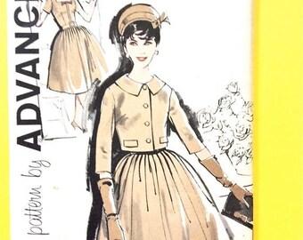 ON SALE Uncut 1950s Advance 9556 Misses' Dress and Jacket  Vintage Sewing Pattern Bust 32