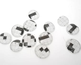 crossword puzzle LARGE magnet or push pin set - made from recycled magazines, teacher gift, math, back to school, locker decoration