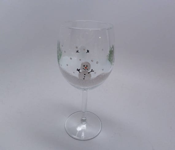 Hand Painted Wine Glasses -  Christmas Holiday Snowman with trees Great Gift