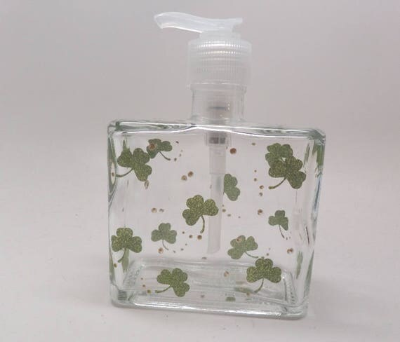 Hand painted St. Patrick's Day Soap or Lotion Dispenser with Clovers and gold.