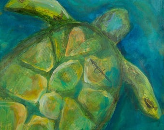 Sea Turtle Print,turtle paintings, turtle art, turtle art work, sea life, turtles