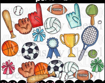 sports fan clipart. sports fan clipart collection - immediate download