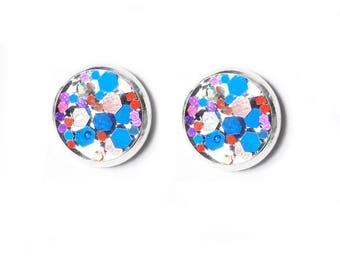 Handmade Star Spangled Glitter Copper Studs Resin Earrings