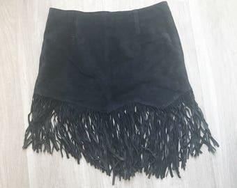 Vintage Black Suede Assymetrical Fringe Mini Skirt 4