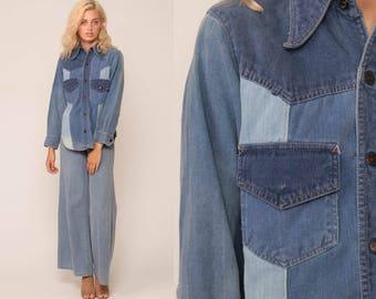 Denim Shirt 70s Blue Jean PATCHWORK Hippie Button Up Denim Boyfriend Shirt Boho Hippy 1970s Long Sleeve Vintage Hipster Retro Small