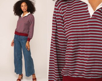 Polo Sweatshirt Striped Sweatshirt 80s Shirt Pullover Soft Burgundy Grey Half Button Up Hipster 1980s Vintage Medium