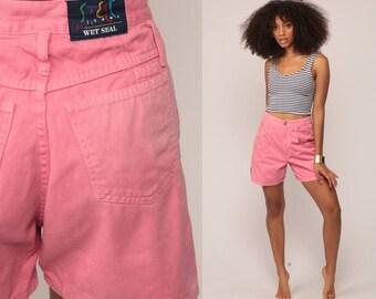 Pink Denim Shorts High Waisted Shorts 90s Jean Shorts Mom Shorts WET SEAL Grunge Steel Jeans Vintage High Rise Medium