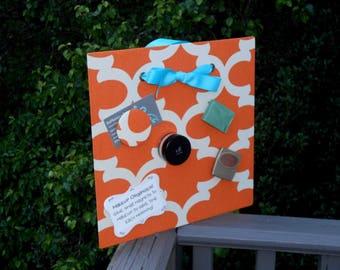 "Dorm Organizer, Magnetic Board, Makeup Magnet Board, Magnet Board, Message Board, Planner, Quatrefoil Tangerine (12"" x 12"")"