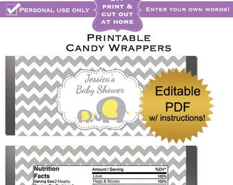 DIY editable printable candy wrappers (No.35) gray chevron yellow elephant baby shower favors PDF Digital File