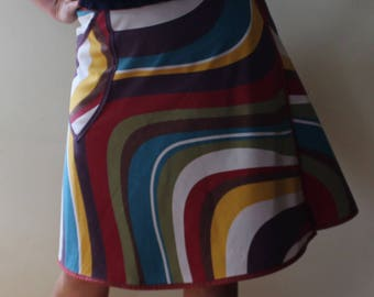 Wrap Skirt,Recycled Fabric, retro, swirls, pocket (one size fits most small - large)