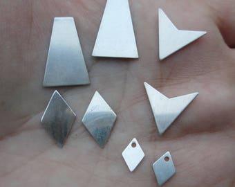 Sterling Silver Pyramid, Chevron, Diamond Shape or Tiny Diamond Shape
