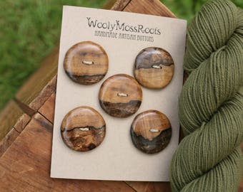 5 Spalted Myrtlewood Buttons- Oregon Myrtlewood- Wooden Buttons- Eco Craft Supplies, Eco Knitting Supplies, Eco Sewing Supplies