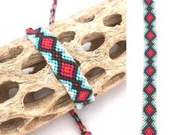 Friendship bracelet - knotted - woven - macrame - string - thread - embroidery floss - handmade - cotton - diamond - blue - pink