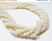 """20% OFF 6.5"""" Glass STRAND - Glass Crystal Beads - 4x6mm Faceted Rondelles - Opaque Light Cream (6.5"""" strand - 38 beads) - str1079"""