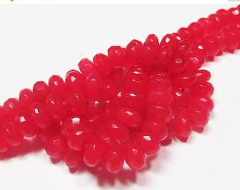 20% OFF LOOSE Gemstone Beads - Jade Beads - Faceted 4x6mm Rondelles - Maraschino Cherry Red (10 beads) - gem1022